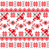 Ukrainian, Slavic Traditional folk knitted red emboidery pattern Stock Image