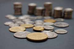 Ukrainian small coins on black table Stock Photography