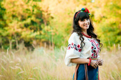 Ukrainian smile woman in national clothes on the Stock Photo