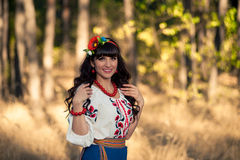 Ukrainian smiling woman in national clothes on the Royalty Free Stock Photo