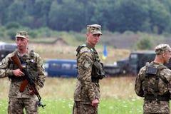 Ukrainian soldier. Picture taken on Yavoriv landfill in Lviv region Royalty Free Stock Photography
