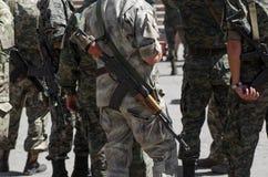 Ukrainian soldiers with machine-guns Stock Photography