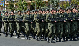 Ukrainian soldiers marching at the military parade Stock Photos