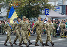 Ukrainian soldiers marching at the military parade Royalty Free Stock Photography