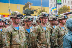 Ukrainian soldiers at the military parade Royalty Free Stock Image