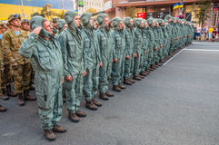 Ukrainian soldiers at the military parade Stock Image