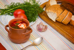 Ukrainian soup and bread with vegetables on Stock Image