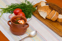 Ukrainian soup and bread with vegetables Royalty Free Stock Photography