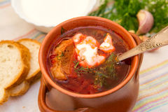 Ukrainian soup and bread Royalty Free Stock Image
