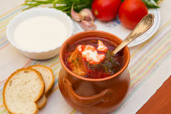 Ukrainian soup and bread Stock Photo