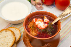 Ukrainian soup and bread Stock Photos