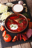 Ukrainian soup and ingredients on a slate board closeup. vertica Royalty Free Stock Photo