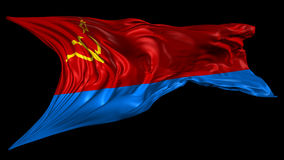 Ukrainian Soviet Socialist Republic flag. 3D animation of Ukrainian Soviet Socialist Republic flag with alpha channel in 4K resolution stock video footage