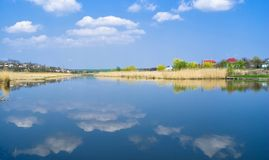 Ukrainian spring landscape with river Royalty Free Stock Image