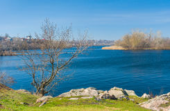 Ukrainian spring landscape with river Stock Photo