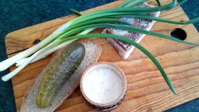 Ukrainian still life. Bacon, salted cucumber, green onions, black bread and vodka stock footage