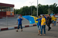 Ukrainian  supporters in Kharkov, Ukraine Royalty Free Stock Images