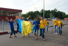 Ukrainian  supporters in Kharkov, Ukraine Royalty Free Stock Photography