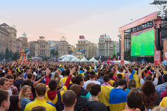Ukrainian, Swedish and English fans in the fanzone Royalty Free Stock Photo
