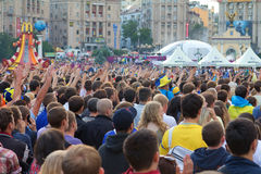 Ukrainian, Swedish and English fans in the fanzone Stock Images