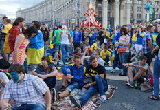 Ukrainian, Swedish and English fans in the fanzone Stock Image