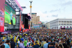 Ukrainian, Swedish and English fans in the fanzone Royalty Free Stock Photos