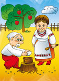 Ukrainian tale, grandparents Royalty Free Stock Photos