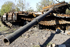 Ukrainian tanks were destroyed in the village Stepanivka Stock Photos