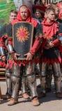 Ukrainian team of knights preparing to enter Royalty Free Stock Image