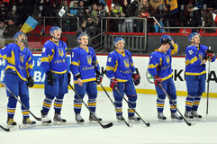 Ukrainian team listens anthem. Royalty Free Stock Photo