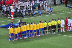 Ukrainian team listens to the national anthem Stock Image
