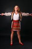 Ukrainian teenage girl with open arms Royalty Free Stock Photo