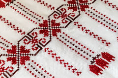 Ukrainian towel embroidered with a cross Royalty Free Stock Images