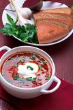Ukrainian traditional borsch. Russian vegetarian red soup in white bowl on red wooden background. Borscht, borshch with beet. stock image