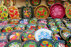 Ukrainian traditional colorful plates with flowers royalty free stock photos