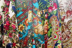 Ukrainian traditional colorful textil head covers with flowers Royalty Free Stock Photos