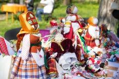 Ukrainian traditional dolls motanka on market Stock Photos
