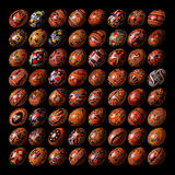 Ukrainian traditional Easter eggs named Pysanky. Collection of Ukrainian traditional Easter eggs on a black background isolated Royalty Free Stock Photos