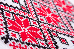 Ukrainian traditional embroidery patterns. Close-up diagonal view Royalty Free Stock Photography