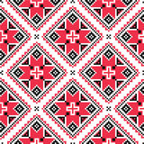 Ukrainian traditional folk knitted red embroidery pattern Royalty Free Stock Image