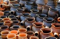 Ukrainian traditional handmade ceramic pots Stock Photography