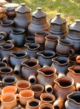 Ukrainian traditional handmade ceramic pots Royalty Free Stock Image