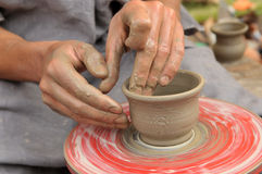 Ukrainian traditional handmade ceramic pots Stock Photos