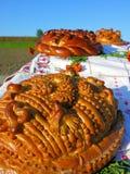 Ukrainian traditional holiday bread. Ukrainian traditional festive bakery holiday bread - round loaf Royalty Free Stock Photos