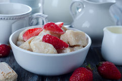 Ukrainian traditional lazy dumplings with cottage cheese. Ukrainian Cuisine. Homemade vareniki in a bowl, delicious lunch. Healthy breakfast - health and diet Stock Image