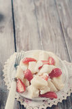 Ukrainian traditional lazy dumplings with cottage cheese. Toned photo. Ukrainian traditional lazy dumplings with cottage cheese. Ukrainian Cuisine. Homemade Stock Photo