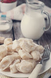 Ukrainian traditional lazy dumplings with cottage cheese. Toned photo. Ukrainian traditional lazy dumplings with cottage cheese. Ukrainian Cuisine. Homemade Royalty Free Stock Photo