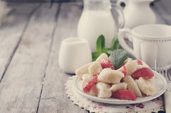 Ukrainian traditional lazy dumplings with cottage cheese. Toned photo. Ukrainian traditional lazy dumplings with cottage cheese. Ukrainian Cuisine. Homemade Royalty Free Stock Images