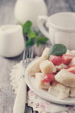 Ukrainian traditional lazy dumplings with cottage cheese. Toned photo. Ukrainian traditional lazy dumplings with cottage cheese. Ukrainian Cuisine. Homemade Stock Photos