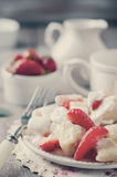 Ukrainian traditional lazy dumplings with cottage cheese. Toned photo. Ukrainian traditional lazy dumplings with cottage cheese. Ukrainian Cuisine. Homemade Royalty Free Stock Photos